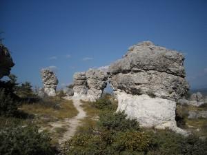 Des rochers en forme de champignons