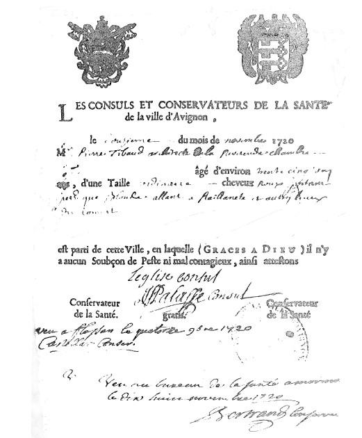 exemple d'un billet de sante (Pierre Thibaud 12-novembre-1720)jpg